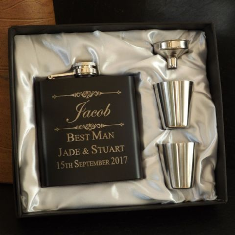 Personalised 6oz Matt Black Hip Flask Cup & Funnel Gift Box Set